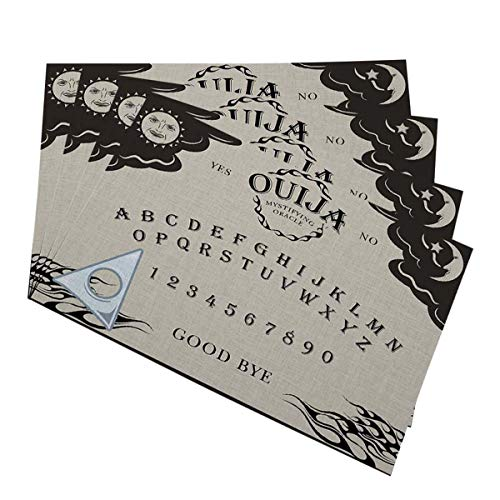 "Mugod Ouija Board Placemats Letter Number of a Ouija Board Sun Moon Star Spook on The Planchette Decorative Heat Resistant Non-Slip Washable Place Mats for Kitchen Table Mats Set of 4 12""x18"""