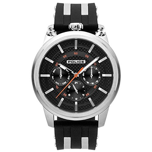 Police Herren Multi Zifferblatt Quarz Uhr mit Silikon Armband PL.15414JS/02P
