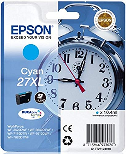 Epson 27 Serie Sveglia, Cartuccia Originale Getto d'Inchiostro DURABrite Ultra, Formato XL, Ciano, con Amazon Dash Replenishment Ready