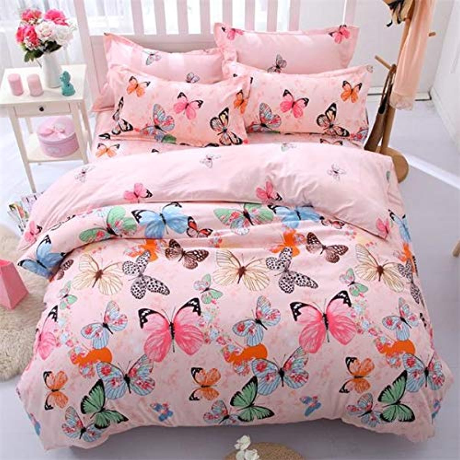 Easy voituree 3   4PCS Coton Simple Draps Lit Princesse Literie Single Full Queen Twin Taille Enfants Literie Couette Ensemble Literie Linge de lit Housse de couette + drap plat + Taie d'oreiller ,Sets de