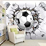 Papel tapiz fotográfico estereoscópico 3D de cualquier tamaño personalizado para habitación de niños, fútbol creativo moderno, Mural de pared rota, ropa de cama, telón de fondo de habitación-S