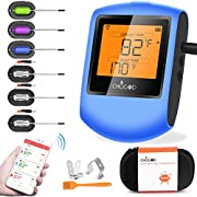 Meat Thermometer Bluetooth - CHUGOD BBQ Cooking Thermometer Wireless Remote Digital Cooking Food Meat Thermometer with 6 Probes for Smoker Grilling Oven Kitchen(Carrying Case Included)
