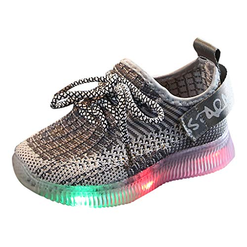 LIJUCH Unisex Baby Toddler's Outdoors Casual Shoes with LED Lights Breathable Lightweight Children's Mesh Sneaker