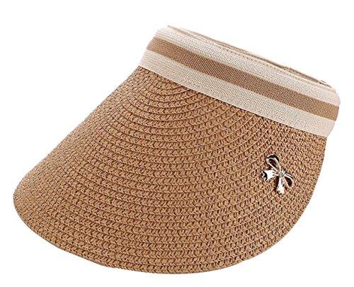 CHENNUO Sonnenblende Damen Long Brim Empty Top Strohhut Golf Visoren Cap Sommer Strand Hut (Braun)