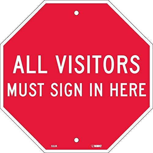 National Marker SS2R All Visitors Must Sign in Here Stop Sign