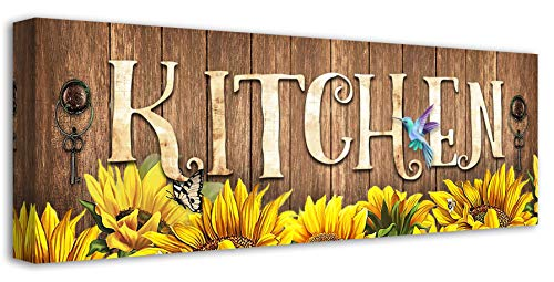 Sunflower Wall Art Rustic Farmhouse Kitchen Wall Decor Butterfly Sunflower Painting Picture Signs Canvas Print Artwork For Kitchen Home Decor 6x17 Inch