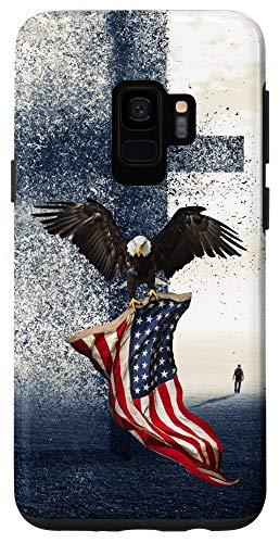 Galaxy S9 America Falling A Christian Cross Bald Eagle American Flag Case