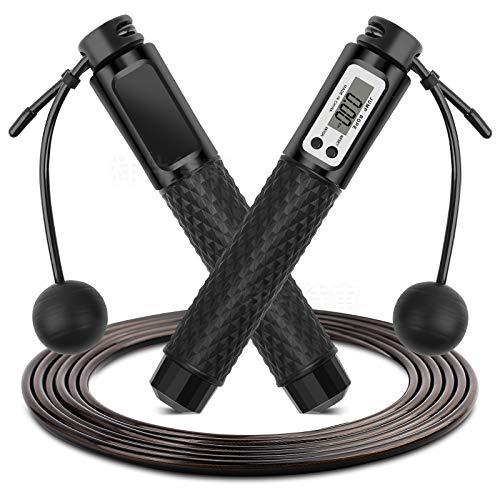Springseil mit Digital Zähler, 360° Kugellager Cord &Cordless Modus,Profi Kugellager & Anti-Rutsch Griffe für Workout, Crossfit, Training Und Fitness