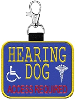 """WORKINGSERVICEDOG.COM """"Hearing Dog Clip on Identification Hanging Patch Tag – Clips onto a Service Dog Vest, Harness, Collar, Leash or Carrier."""