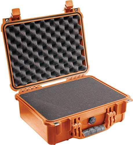 PELI 1450 Sturzfester Koffer für Empfindliches Equipment, IP67 Wasser- und Staubdicht, 15L Volumen, Hergestellt in Deutschland, Mit Schaumstoffeinlage (Anpassbar), Orange