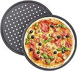 ack 2 Bandeja para pizza antiadherente para horno, bandeja para pizza de acero al carbono con agujeros, bandeja redonda crujiente para pizza para hornear, para uso doméstico, restaurante,32 cm