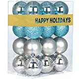 GameXcel 24Pcs Christmas Balls Ornaments for Xmas Tree - Shatterproof Christmas Tree Decorations Perfect Hanging Ball Sky Blue & Silver 1.6' x 24 Pack
