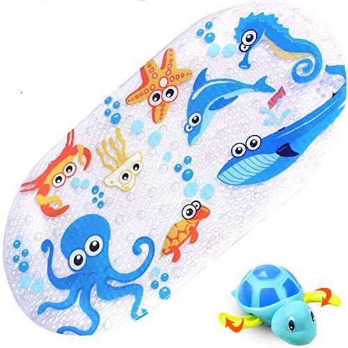 Tappetino Doccia Antiscivolo Tappeto Vasca Antiscivolo Bambini per Il Bagno, con foto vivide e ventose, viene fornito con un giocattolo da bagno, 70 x 38cm