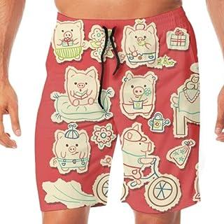 メンズ サーフパンツ ショーツ 水着 海水パンツ 海パン ゴムウエスト サーフトランクス Cartoon Pigs