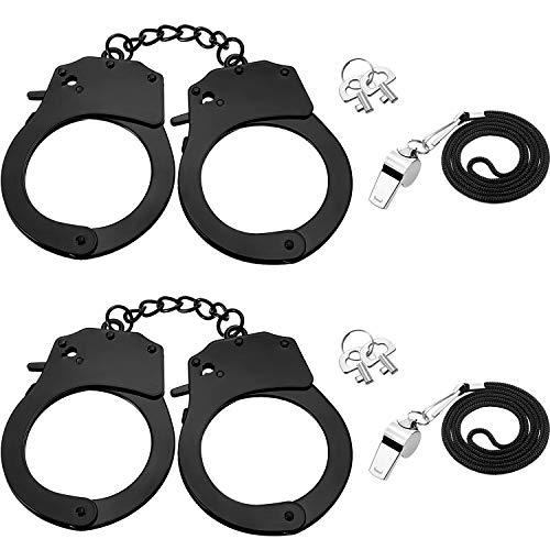 BBTO 2 Stücke Metall Handschellen mit Schlüsseln Schwarze Edelstahl Spielzeug und 2 Stücke Silber Metall Schiedsrichter Trillerpfeife Kostüm Zubehör Party Requisiten für Cosplay Polizei, Kostümball