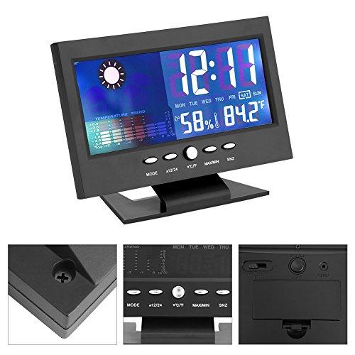 Digitaluhr, digitale Anzeige der Luftfeuchtigkeit der Temperatur, Kalender, Wetterkalender, komfortabel, geeignet für Badezimmer, Dusche, Kalender der Wettervorhersage