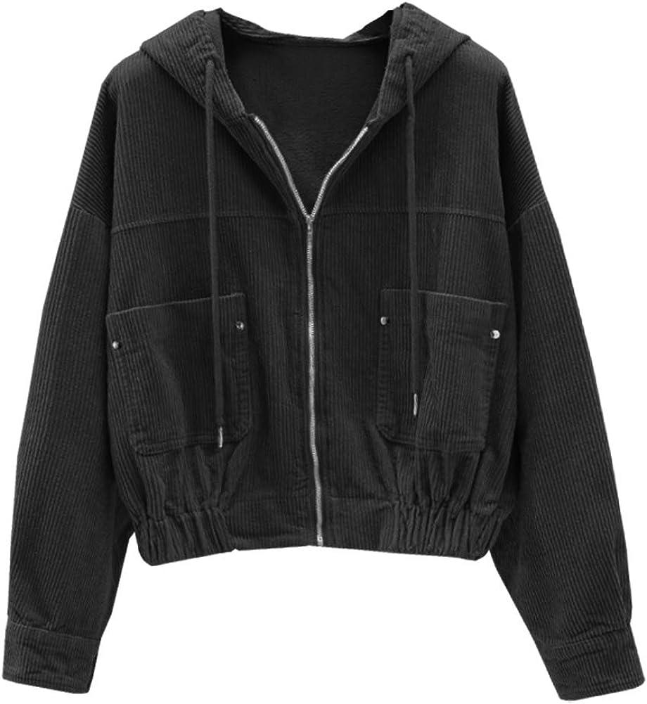 Women's Casual Zip Up Long Sleeve Drawstring Hooded Crop Top Corduroy Jacket