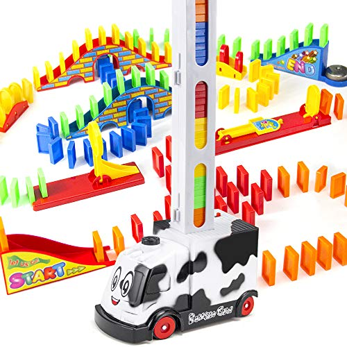 BananMelonBM Automatic Domino Train, 210 PCS Kids Fat Brain Domino Electric Train Toy Set with 3 Add-on Trigger Mechanism for 3 4 5 6 7 Years Old Boys, Girls