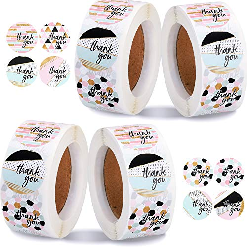 2000 Pieces Thank You Stickers Geometric Modern Thank You Labels with Faux Glitter Appreciation Labels for Thank You Card Bags Envelope Package Wedding, 8 Styles
