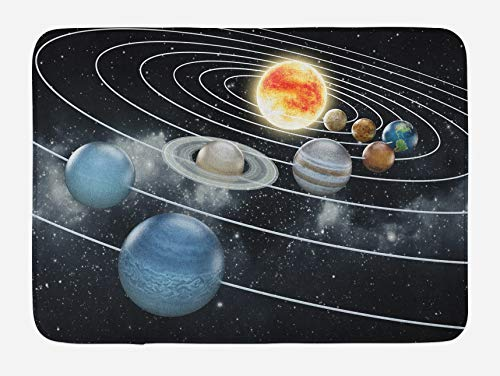 Alfombrilla de baño Galaxy System All 8 Planets and The Sun Pluto Júpiter Mars Venus Science Fiction, 40 x 60 cm, color negro y gris
