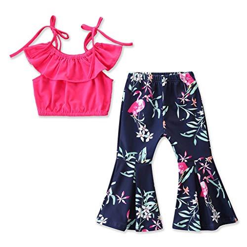 Pwtchenty baby Damen Sommer Kurz Rock Mädchen Party Kleidung Kleinkind Kinder Outfits Kleidung Sling Tops + Blumendrucke Shorts Hosen Sets Anzug 1-6 Jahre