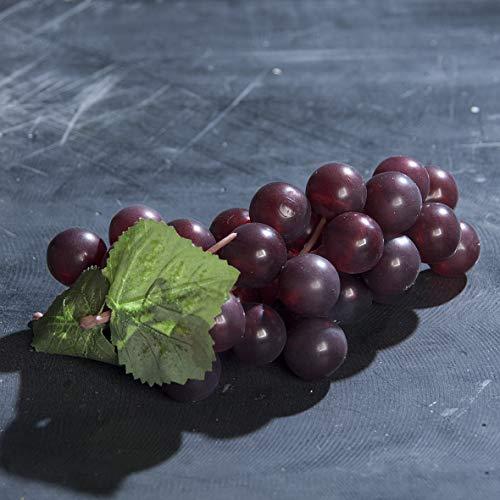 mucplants Hochwertige künstliche Trauben Rot 16cm Rebe Weintrauben Dekoobst Kunstobst für Ihr Zuhause