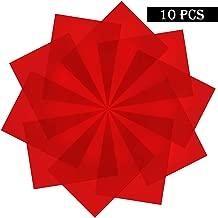 SAKOLLA 10 Pieces Transparent Color Correction Lighting Gel Filter - Red Gel Light Filter Plastic Sheet, 8.5 x 11-Inches
