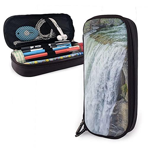 The Waterfall - Estuche de piel con cremallera para niñas/niños, alta capacidad para estudiantes de aprendizaje personalizado