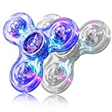 FIGROL Fidget Spinner, 2 Pack LED Light Up Fidget Toys Crystal Finger Toy Hand Fidgit Spinners-Kids for Reducing Boredom ADHD, Anxiety