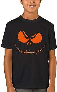 Kids Halloween T-Shirt Short Sleeve Pumpkin Face Cotton Tee 1-14 Years