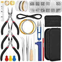 Jewelry Making Supplies Kit, FIXM Jewelry Finding Kit with Accessories Jewelry Pliers, Open Jump Rings, Ribbon Ends, Eye Pins and Earring Hooks, for DIY Jewelry Craft Supplies