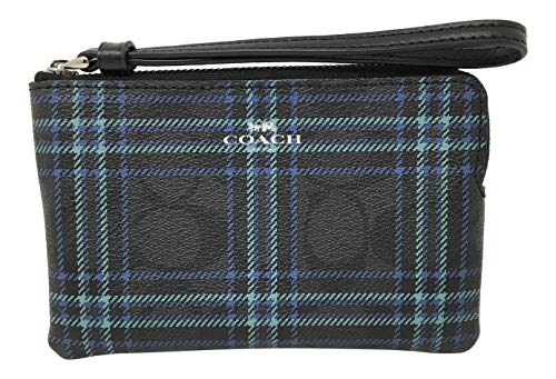 Coach Signature Coated Canvas Small Corner Zip Wristlet in a Shirting Plaid Print F87782