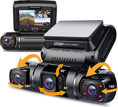 Pruveeo D90 3 Channel Dash Cam, 1080P+1080P Inside...