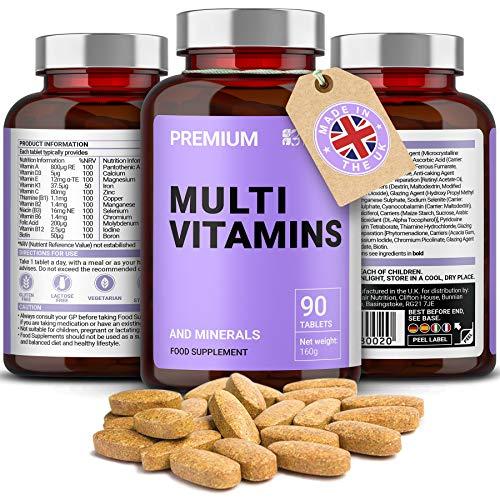 Multivitamin & Mineralien A-Z Komplex - 90 hochdosierte Tabletten: in nur 1 Tablette täglich: Zink, Eisen, Magnesium, 100% ETD an A C B2 B3 B6 B7 B12 D E für Männer & Frauen - natürliche Inhaltsstoffe | Hergestellt im UK von Iron Ore Health