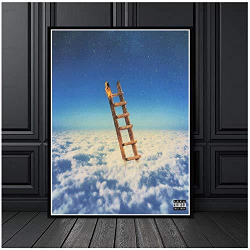 Moderne canvas schilderij muur canvas schilderij ladder bereiken in de wolken HD poster thuis woonkamer decoratie / 50x70cm geen frame
