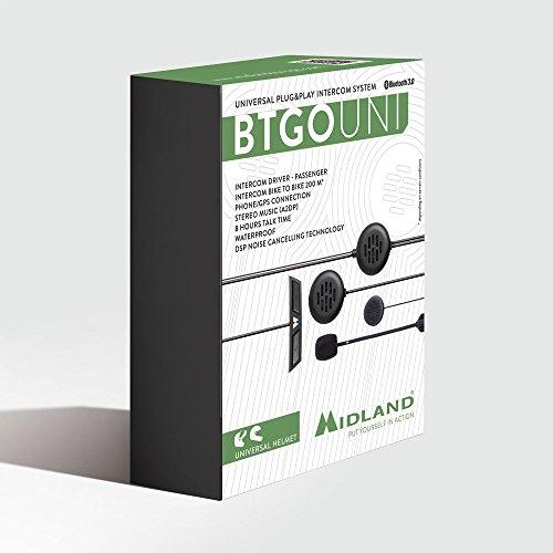 Midland BT Go Uni Interfono Moto Casco Bluetooth per Conversazioni Pilota Passeggero, Portata 200m, Universale per Tutti i Caschi, Audio Chiaro, Soppressione del Rumore DSP e Batteria di Lunga Durata