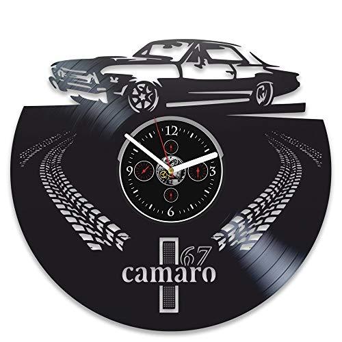 LKCAK Vinyl Wanduhr 1967 Camaro Rekord Uhr Camaro 67 Uhr Geschenk Herren Geburtstagsgeschenk Vinyl Wanduhr Wanduhr Retro