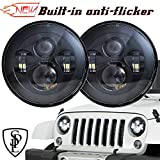 SPL Classic 7'' Inch Cree Chips LED Headlights Compatible with Jeep Wrangler 97-2017 JK TJ LJ Hummber H1 H2(Black Pair)