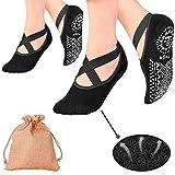 Yoga Socks, 2 Pairs Pilates Socks Non Slip Women - Rendvieet Slip Grips & Straps Ideal for Pure Barre, Ballet, Dance, Barefoot Workout (2pack)