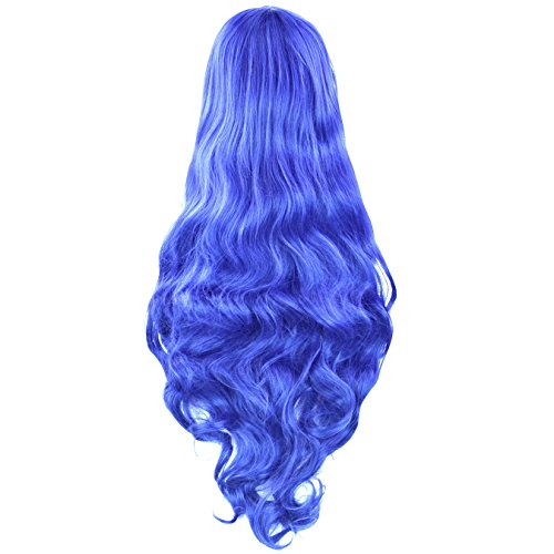 """Rbenxia Curly Cosplay Wig Long Hair Heat Resistant Spiral Costume Wigs Anime Fashion Wavy Curly Cosplay Daily Party Blue 32"""" 80cm"""