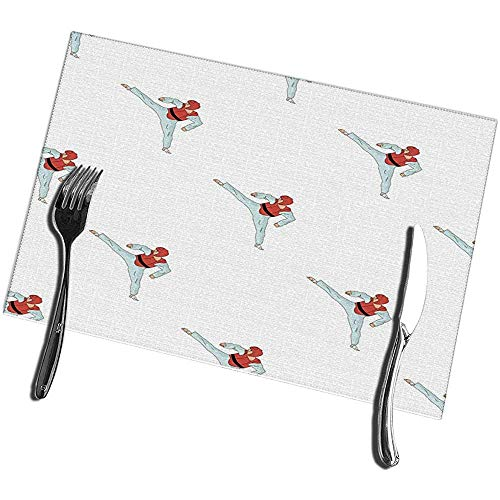 sunnee-shop eettafel placemats set van 4 Taekwondo Fighter in wit kimono en rood Protection Sports Olympic