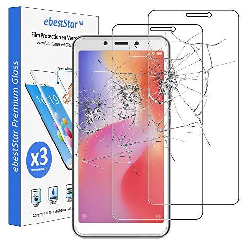 ebestStar - [Lote x3 Cristal Templado Compatible con Xiaomi Redmi 6 6A Protector de Pantalla, Película Vidrio Protectora Ultrafina, Dureza 9H, Sin-Burbujas [Aparato: 147.5 x 71.5 x 8.3mm, 5.45'']