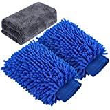AUTODECO 3pcs Car Wash Cleaning Tools Kit Chenille Microfiber Waterproof Wash Mitt Extra Large Size Wash Glove with Highly Absorbent Drying Cleaning Towel Lint Free Scratch Free - 2 Mitt & 1 Towel