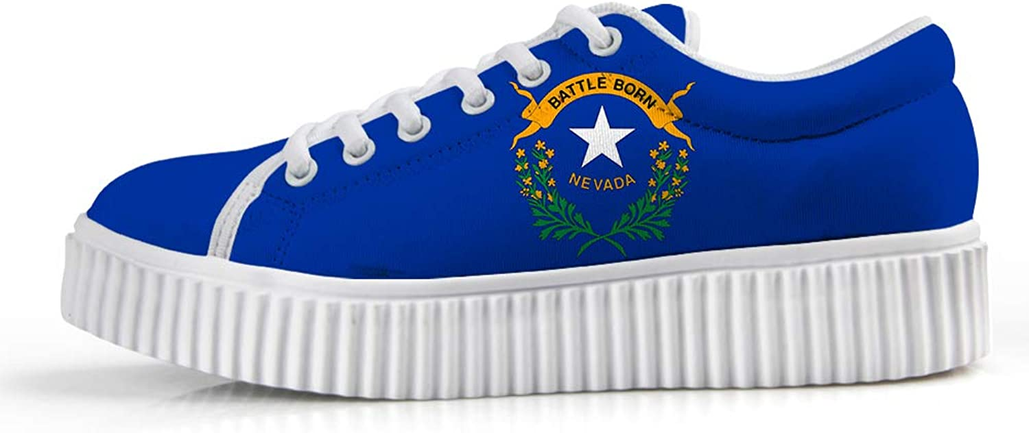 Owaheson Platform Lace up Sneaker Casual Chunky Walking shoes Low Top Women Battle Born Silver State Nevada Flag