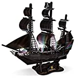 HUOQB LED The Queen Anne's Avenger 3D Puzzles Vintage Modern Style Sailing Ship Model Kits,DIY Assemble Toy,Model Kit Desk Decor Sailboat Vesselfor Adults and Kids 111 Pieces