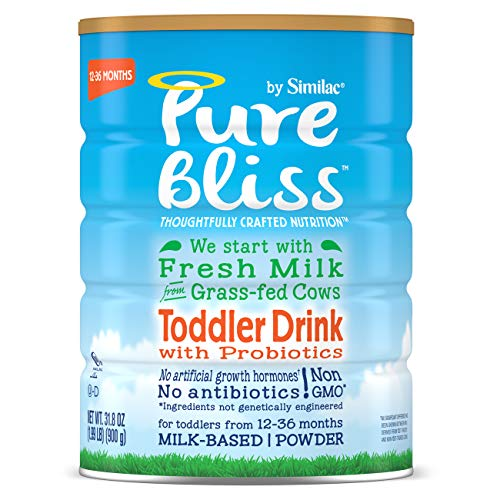 Pure Bliss by Similac Toddler Drink with Probiotics, Starts with Fresh Milk from Grass-Fed Cows, Non-GMO Toddler Formula, 31.8 ounces, 4 Count