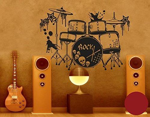 Klebefieber Wandtattoo Schlagzeug B x H: 100cm x 71cm Farbe: dunkelrot