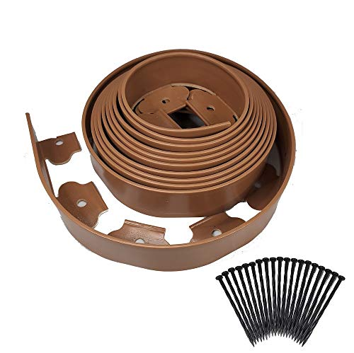 """One stop outdoor instant edging - brown 20ft premium no dig yard edging kit, for landscaping, and flower gardens border - (2"""" high) - includes 18 edging stakes (brown)"""