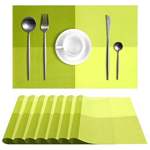 UMORNING Manteles individuales lavables para mesa de cocina de vinilo tela, resistentes a las manchas, juego de 8 unidades, color verde