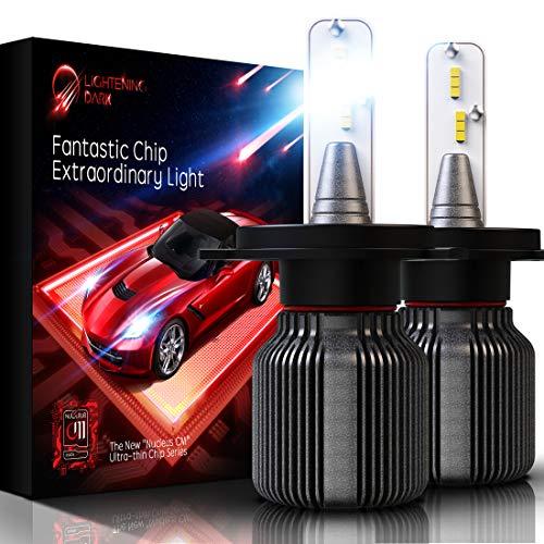 LIGHTENING DARK H4 (9003 High/Low) LED Headlight Bulb, Fanless CSP Y19 Chips Conversion Kit - 8000LM & 6500K Xenon White (Pack of 2 Bulbs)